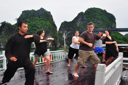 Morning Tai Chi on V Spirit Cruise