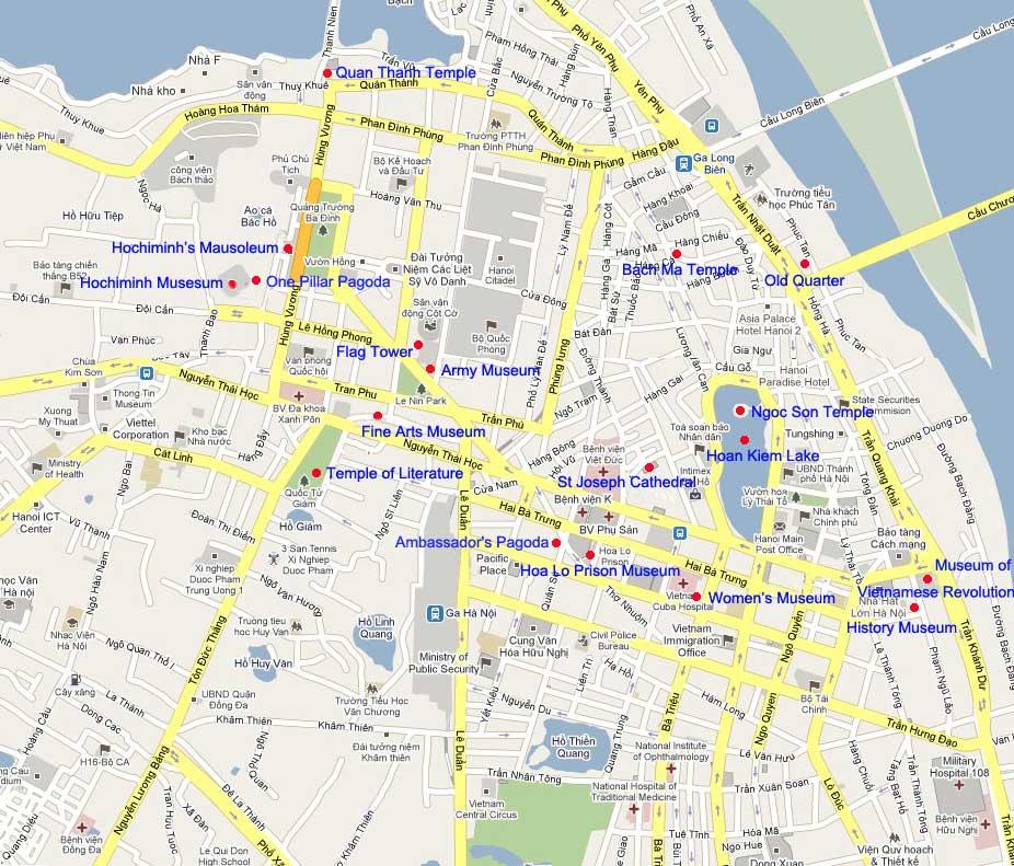 Map Ha Noi.Hanoi Travel Map Hanoi Tours