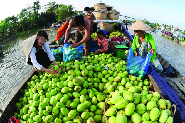 Boats full of fruit in floating market, Mekong Delta